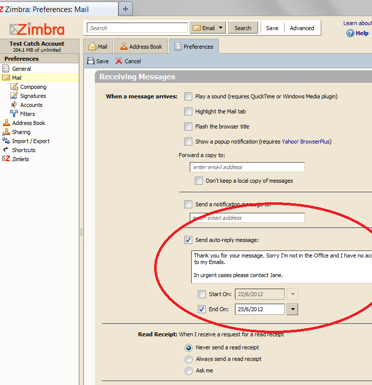Zimbra -  Out of office reply